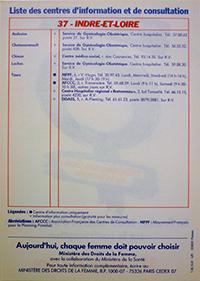 """Centre des Archives du Féminisme, Angers, Fonds """"MLAC"""", 10AF38, Avortement et contraception, prospectus d'information sur la contraception en Indre-et-Loire"""
